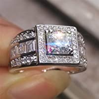 Haluoo Engagement Wedding Ring for Women 925 Sterling Silver Three Halo Ring Round Princess Cut Cubic Zirconia Promise…