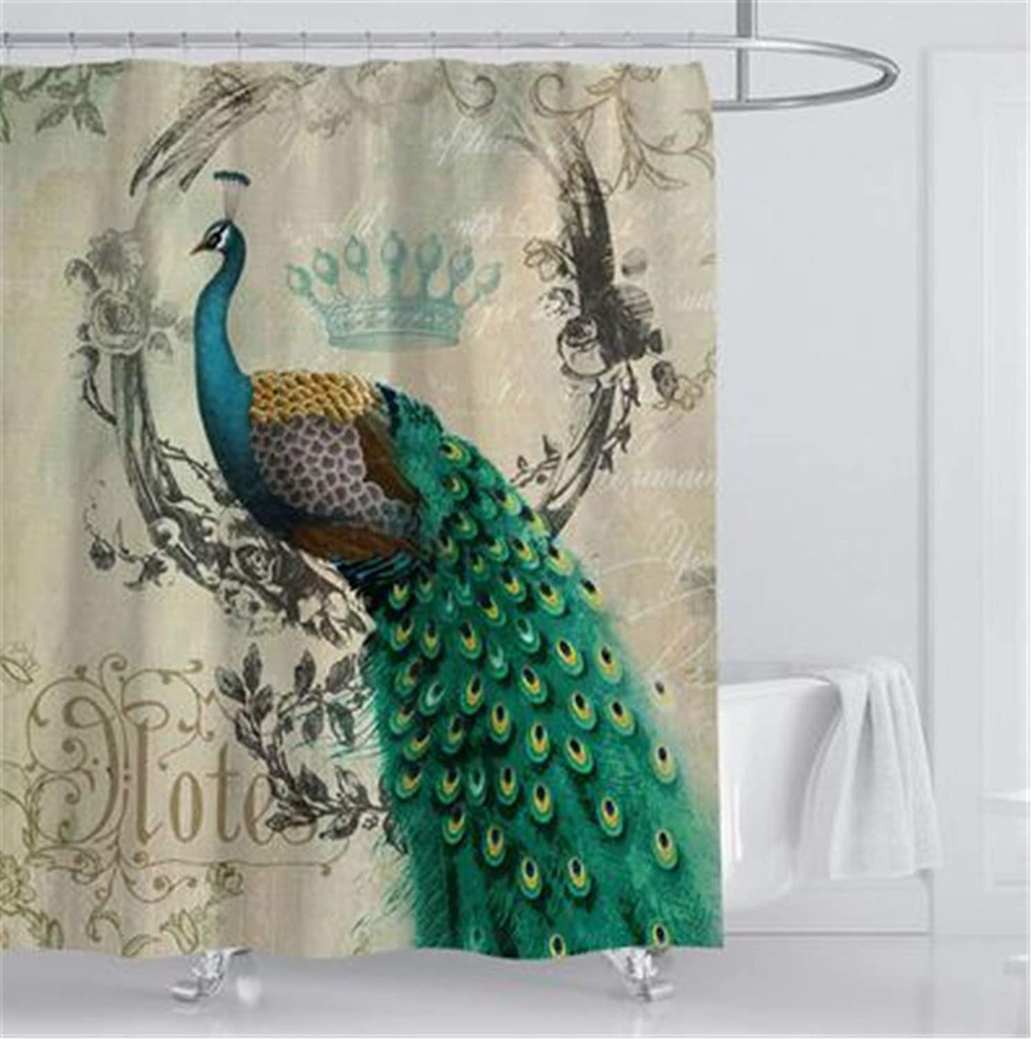 hipaopao Peacock Feathers Flower Vine Vintage Fabric Shower Curtain Sets Bathroom Decor with Hooks Waterproof