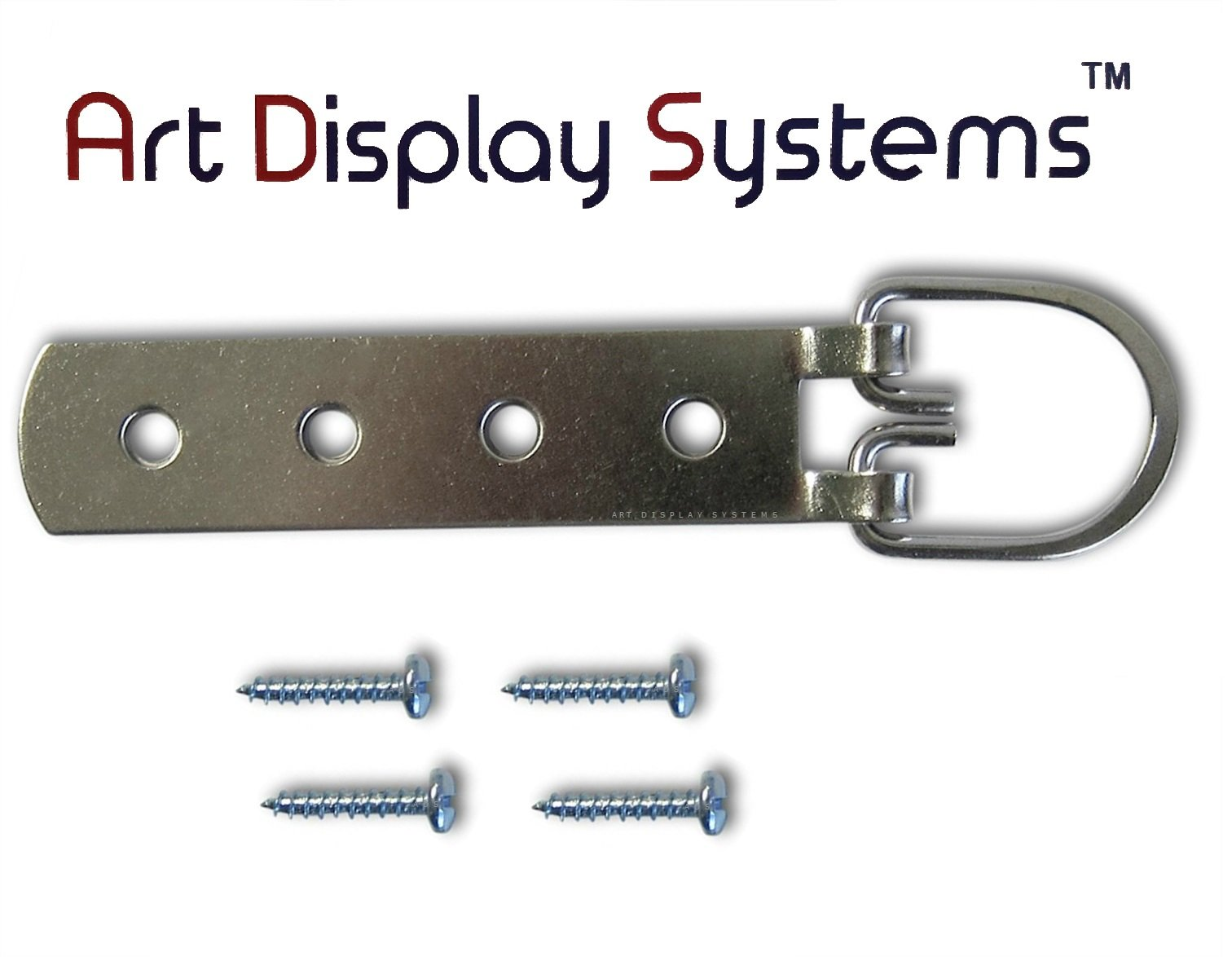 ADS Super Heavy Duty Extra Large Strap Hanger - 4 Hole Zinc Plated D-Ring Hanger - 2 Pack by ART DISPLAY SYSTEMS