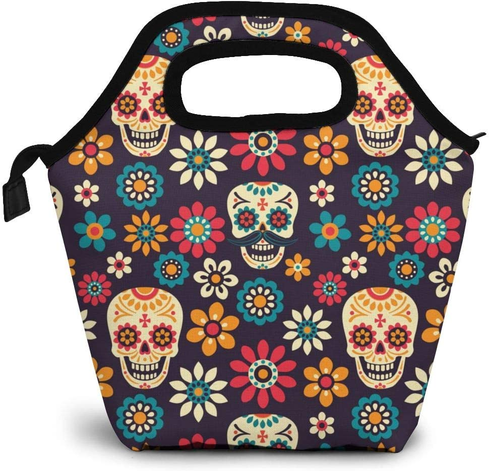 Insulated Lunch Tote bag Day Of The Dead Handbag lunchbox Sugar Skull Food Container Gourmet Tote Cooler Warm Pouch For Work Office Travel Outdoor