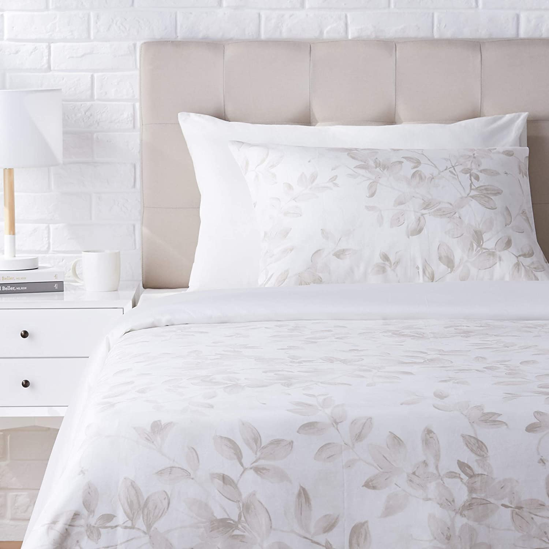 AmazonBasics Super-Soft Cotton Duvet Cover Set - Twin, Ivory Botanical