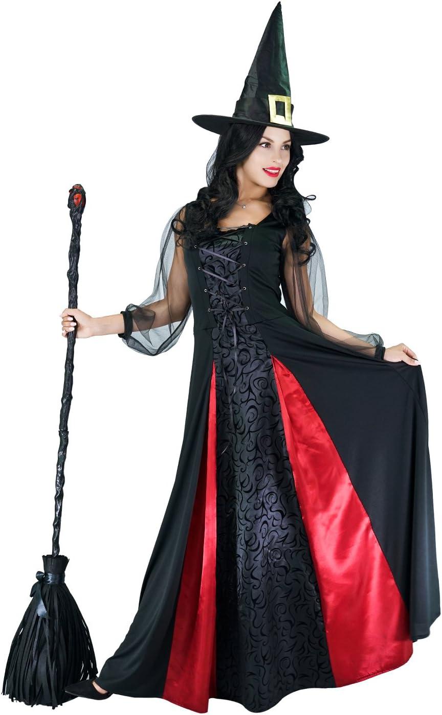S SEA HARE Costume de sorci/ère /él/égante Halloween pour Femme Adulte