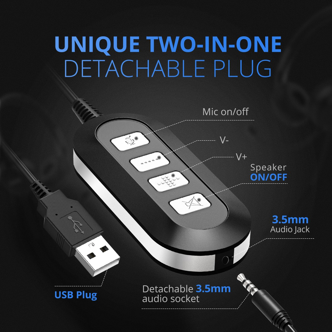Mpow 071 Usb Headset 35mm Computer With Mac Mini Mic Jack Wiring Microphone Noise Cancelling Lightweight Pc Wired Headphones Business For