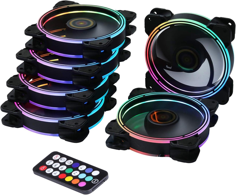 Onewatt DS Wire Rainbow light RGB LED 120mm caso ventilador para PC casos, CPU refrigeradores, sistema de radiadores (6 paquetes de ventiladores RGB kit de ventiladores Serie D)