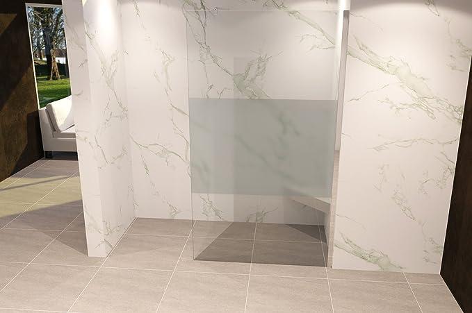 Duschabtrennung Duschwand Walk In Dusche 10mm STARK aus TEIL-SATINIERTEM ESG Sicherheitsglas mit Edelstahl Wandprofilen #740 90 x 200cm, Teilsatiniertes Glas