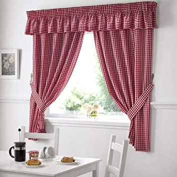 Gingham Check Kitchen Tape Top Curtains - Red (46\