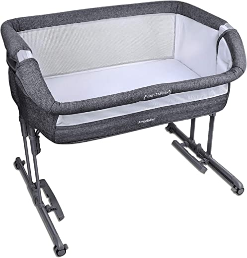 Angelbliss Baby Bassinet & Bedside Sleeper,3-in-1 Baby Bed with Cradle Mode,Portable Co-Sleeping Bassinet with 10 Height Adjustable(Black)