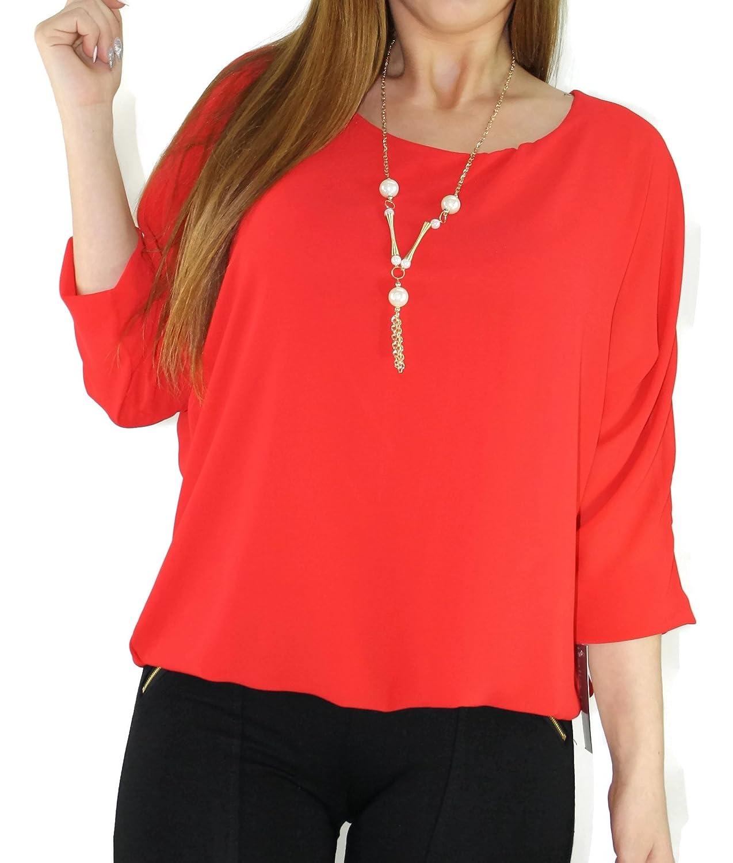 #1124 Damen Chiffon Tunika Fledermaus langarm Shirt Ballon inkl. Kette 34 36 38 Onesize