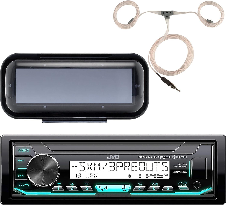 JVC KD-X35MBS Marine Single DIN AM/FM Bluetooth SiriusXM Receiver, Single DIN Radio Cover - Black, Marine Antenna 71Vkjf07UALSL1500_