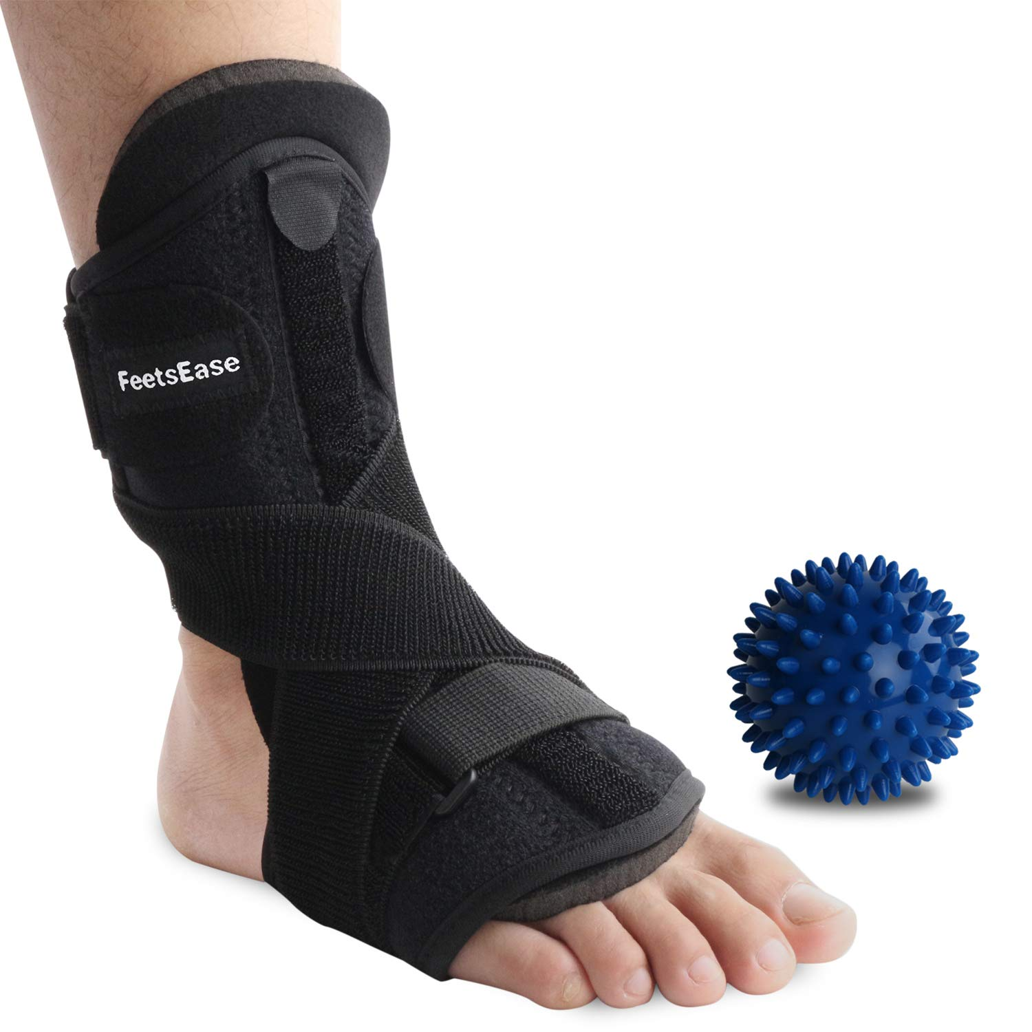 Plantar Fasciitis Night Splint and Support for Pain Relief - Adjustable Dorsal Night Splint Foot Brace for Achilles Tendonitis Foot Stretch for Men & Women [1 Pack] by FeetsEase