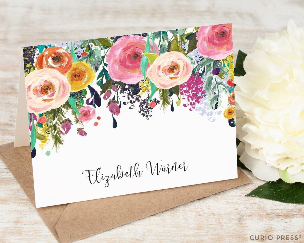 MULTI FLOWER FOLDED - Personalized Floral Elegant Stationery / Stationary Notecard Set