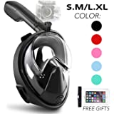 Snorkel Mask, Fnova 180°View Gopro Compatible Easybreath Full Face Snorkeling and Diving Mask, Anti-Fog & Anti-Leak Design Fit for Kids and Adults, Includes Waterproof Phone Case
