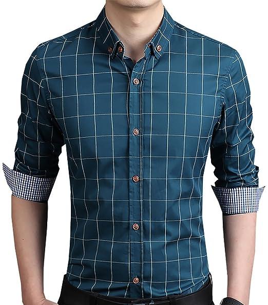18e6599153dfa AIYINO Mode Hommes Casuale manches longues bouton coupe mince tenue  vestimentaire décontractée Chemise à carreaux en