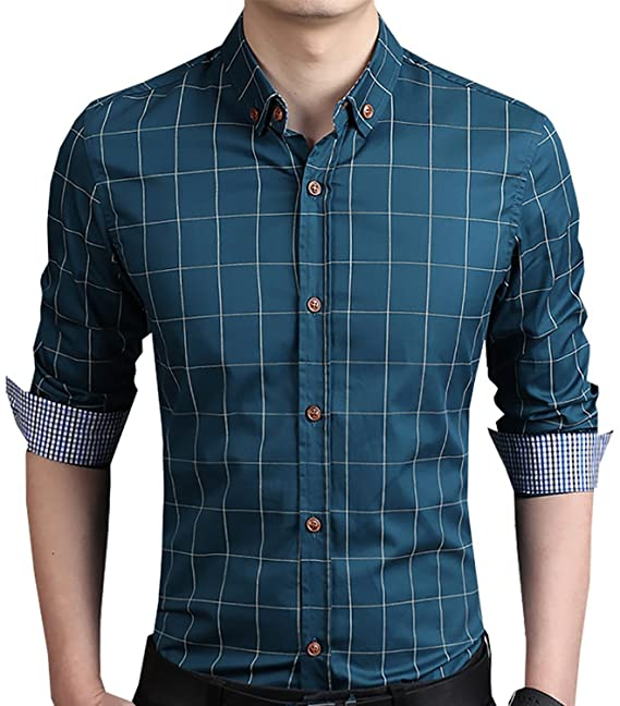 Aiyino Men's 100% Cotton Long Sleeve Plaid Slim Fit Button Down ...