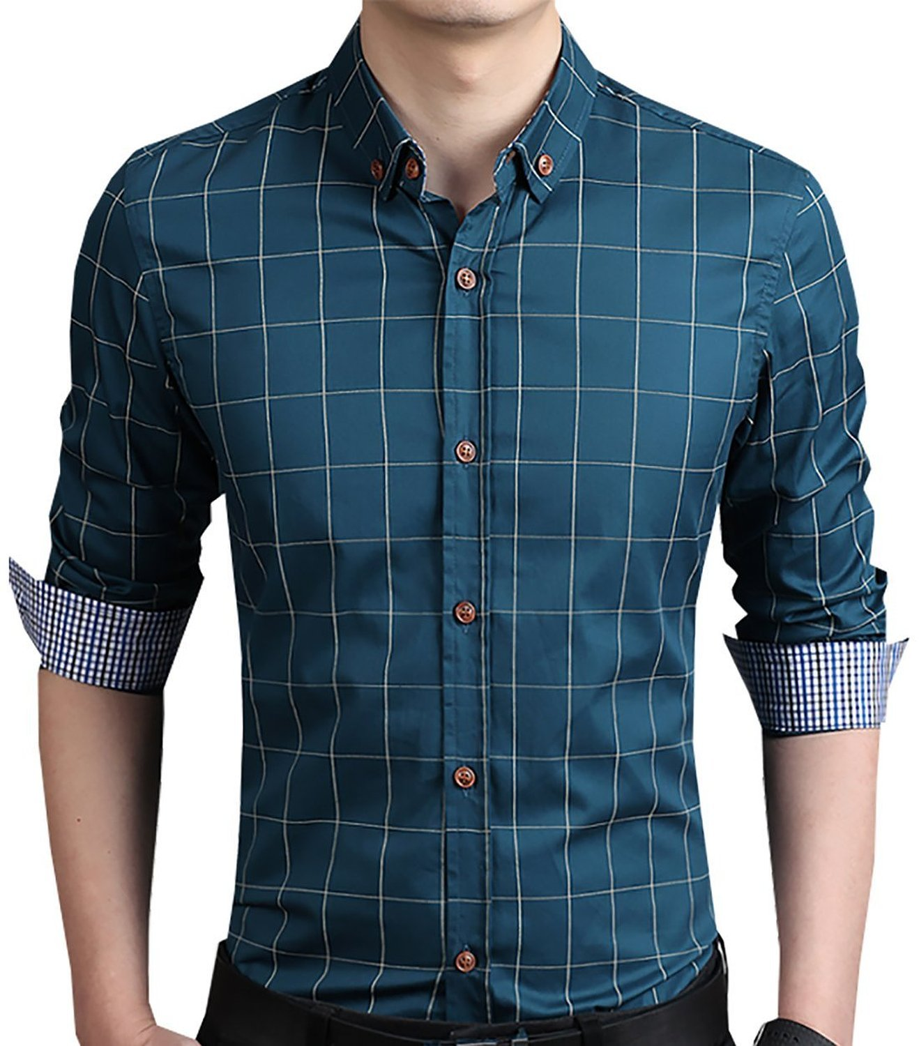 YTD Men's 100% Cotton Long Sleeve Plaid Slim Fit Button Down Dress Shirt US XL Acid Blue