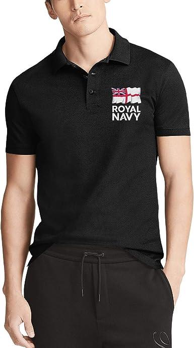 Mens Black Short Sleeve Royal-Navy-UK-Flag-White- Collar Polo T-Shirts Buttons Tee Tops