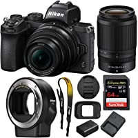 Nikon Z 50 Mirrorless Camera with Z 16-50 & 50-250 VR Lenses and Mount Adapter with 64GB Card and Accessory Bundle (3 Items)