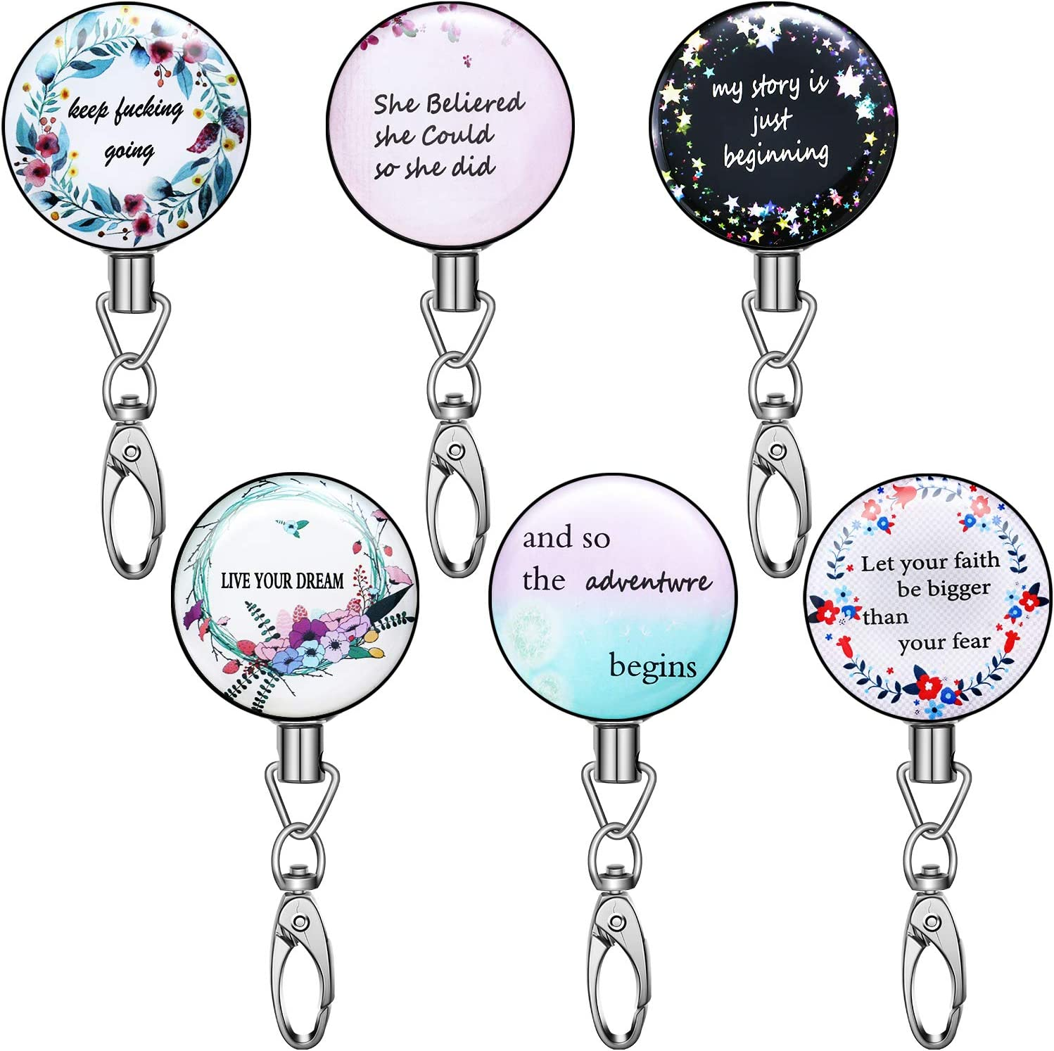 6 Pieces Decorative Retractable Badge Reel Inspirational Quote Retractable Key Chain Retractable Name Card Badge Keychain with Clip for Office Lady Nurse Students Teachers Bible Verses Supplies
