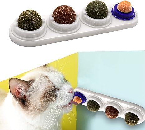 Juguetes con hierba Gatera, ingredientes de Menta Natural, bolas de Bocadillos para Gatos 4 piezas, la Limpieza de Dientes Promueve la salud de los ...
