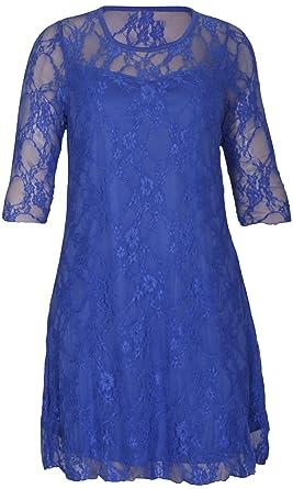 cb2271c5e37d6 Purple Hanger - Robe Fleurie Dentelle Extensible Manche 3 4 Femme Grande  Taille Soirée  Amazon.fr  Vêtements et accessoires