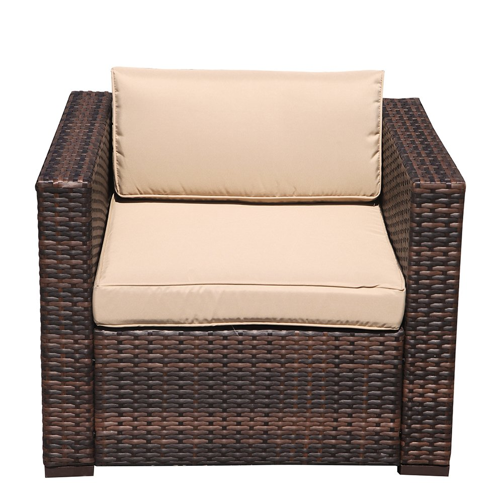 Super Patio Wicker Single Chair, Outdoor Furniture All Weather Wicker Armchair Sofa Thick Beige Cushions, Steel Frame, Brown