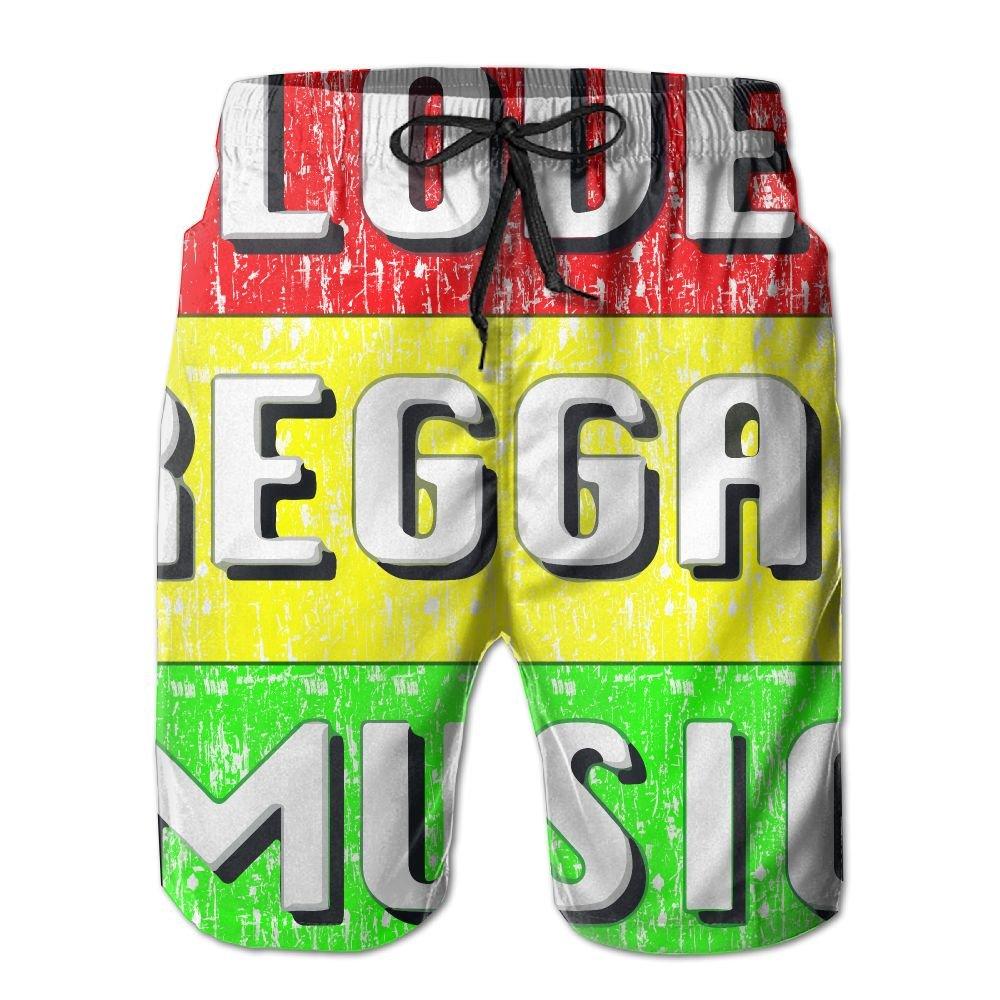 OIYP Love Reggae Music Mens Basic Boardshorts XXL With Pocket