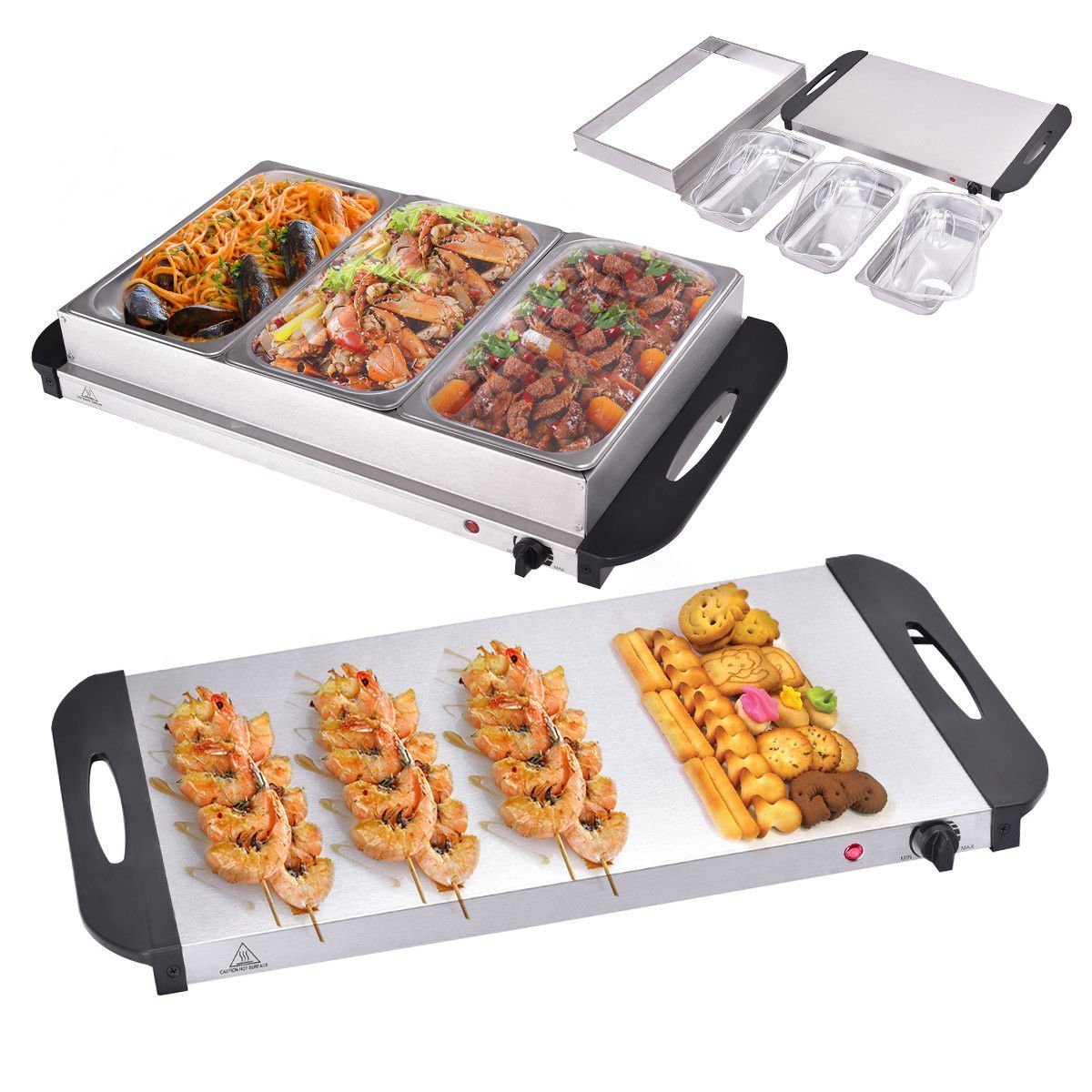 Giantex 3 Tray Buffet Server Stainless Steel Hot Plate Food Warmer Chafing Dish Tabletop (2.5 Quart)