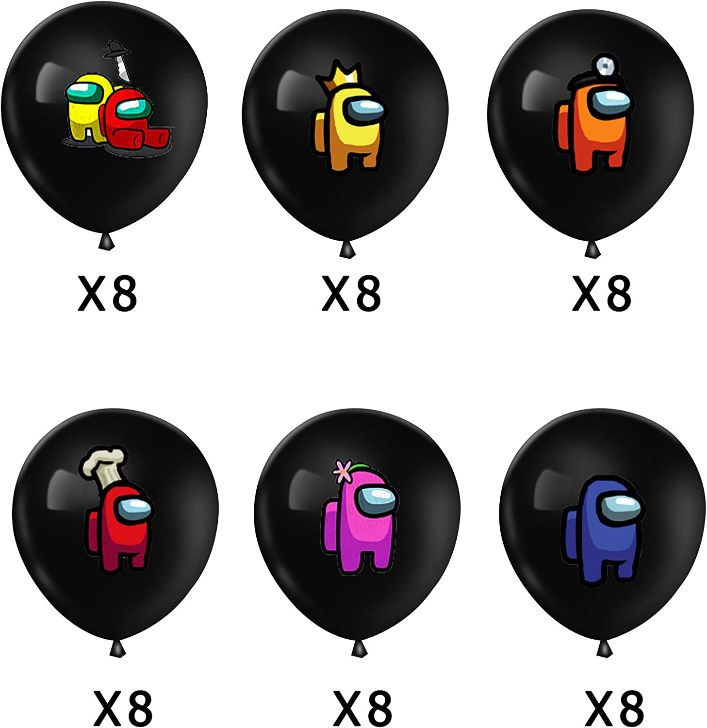 48PCS Among Us Party Supplies Video Game 12 Inch Latex Black Balloons 6 Pattern For Among Us Theme Kids Baby Shower Birthday Party Decorations