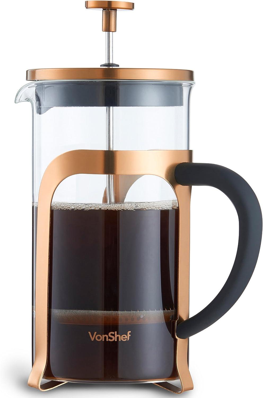 VonShef Cafetera de Prensa Francesa para 8 tazas (cristal/acero ...