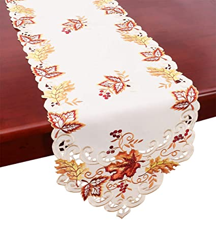 Beau GRELUCGO Elegant Thanksgiving Holiday Table Runner, Embroidered Maple  Leaves Fall Table Linen, 15 By