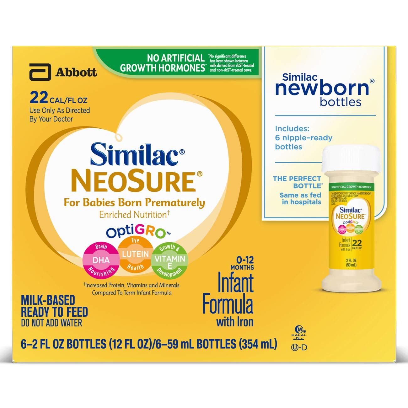 Similac NeoSure Infant Formula with Iron, For Babies Born Prematurely, Ready-to-Feed bottles, 2 ounces (48 bottles) Abbott Laboratories 67202
