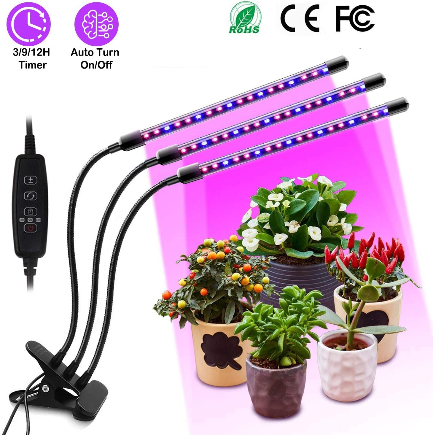 KIPRUN Plant Grow Light with Auto Turn On Off Function, 60 LED Plant Grow Lamp with 3 9 12H Timer, 3-Head Divide Control Adjustable Gooseneck, 10 Dimmable Levels for Indoor Plants 2019 Upgraded