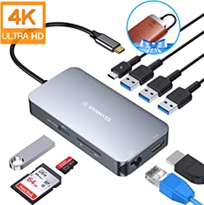 VANMASS Aluminum USB C Hub, 9 in 1 USB C Adapter with 4K HDMI, RJ45 Gigabit Ethernet, 4 USB 3.0 Ports, TF/SD 3.0 Card Reader, 100W PD Charging Port for MacBook Pro/Air & More USB C Devices