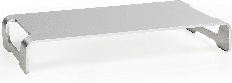 VIVO Silver Aluminum 16 inch Wide Monitor Riser | Ergonomic Desktop Stand, Modern Tabletop Organizer (STAND-V000H)