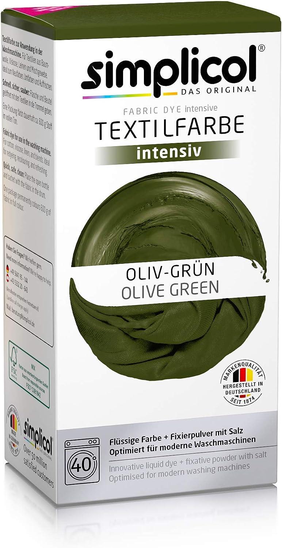 Simplicol Kit de Tinte Textile Dye Intensive Verde : Colorante para Teñir Ropa, Tejidos y Telas Lavadora, Contiene Fijador para Colorante Líquido, ...