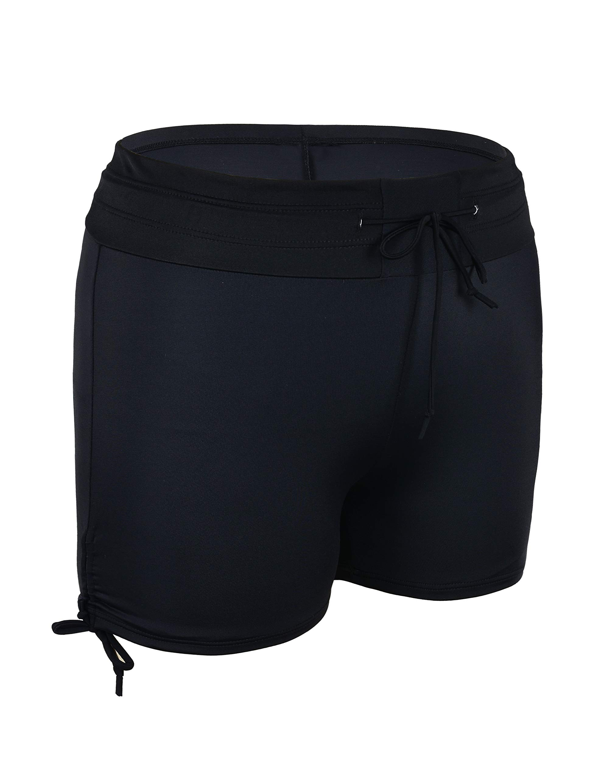 Septangle Womens Black Swim Sports Board Shorts Bottom with Side Ties,US 14 by Septangle (Image #2)
