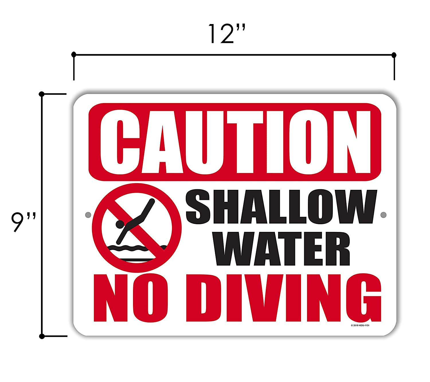 9 x 12 Inch Metal Aluminum Pool Signs Caution Shallow Water No Diving Swimming Pool Outdoor Signs Made in USA Honey Dew Gifts Pool Decor