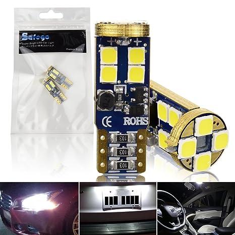 Safego 2x T10 W5W LED Bombillas Exteriores 12 SMD 3030 Luz Coche Trasera Lámpara Blanco Xenon