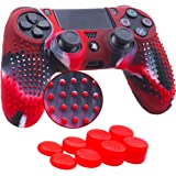 YoRHa Studded Silicone Cover Skin Case for Sony PS4/slim/Pro Dualshock 4 controller x 1(camouflage red) With Pro thumb grips x 8