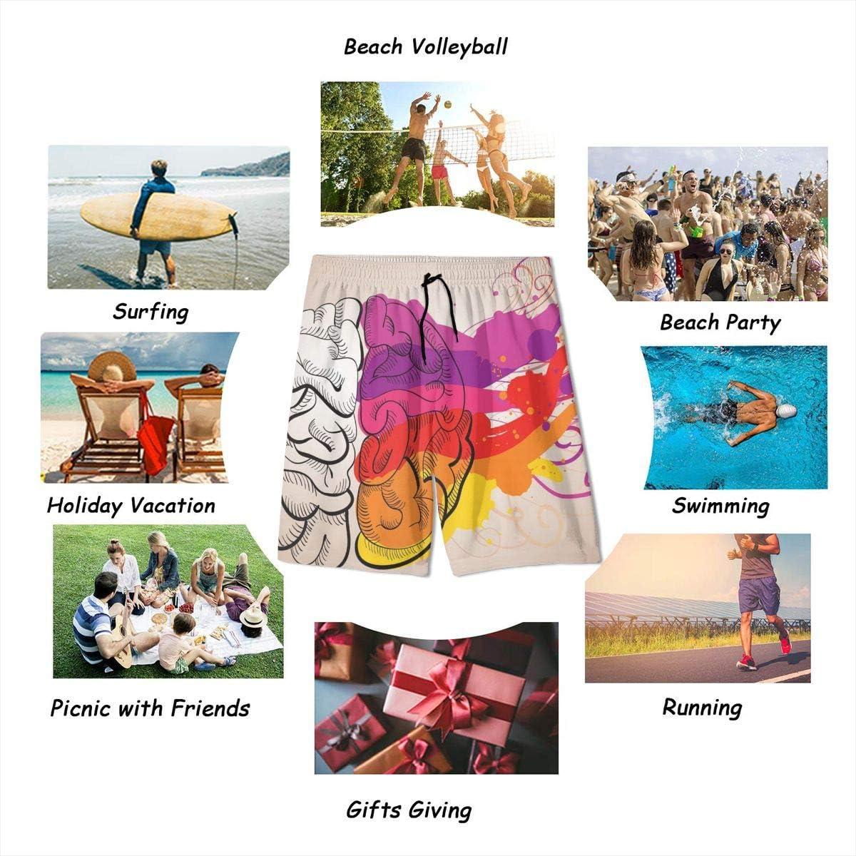 Kidhome Teenagers Boys Beach Board Shorts Art Brain Summer Drawstring Beach Shorts Swim Trunks with Pockets for Teen Boys