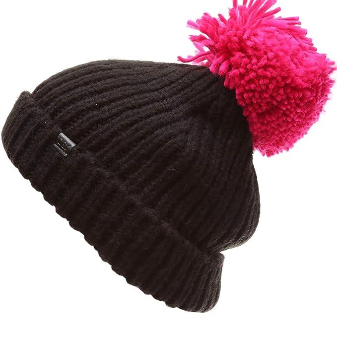"32cff57f133 MIRMARU Women s Winter Ribbed Knit Soft Warm Chunky Stretchy Beanie hat with  5"" Large Pom"