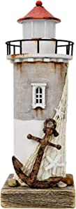 Rustic Wood Lighthouse Decor with Light Tabletop Nautical Decor, Wooden Lighthouse Nautical Decoration Beach Themed Decoration Coastal Decor Lighthouse Decoration for Home Mediterranean Decor