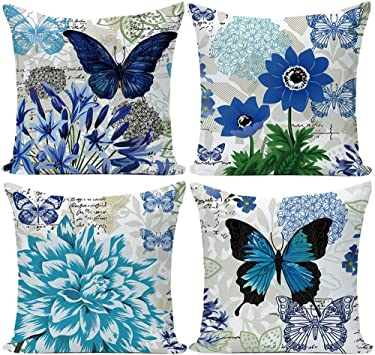 Retro Butterfly Pattern Decorative Throw Pillow Covers Vintage Style Home Decorative Cushion Cover With Quote Pillowcase 18x18 Set Of 4 Butterfly Pattern Amazon Co Uk Office Products