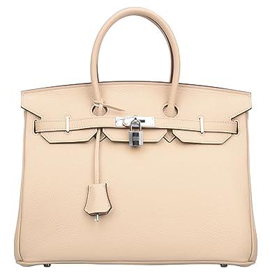 cb48d027e99 Ainifeel Women s Padlock Handbags with Silver Hardware (35 cm