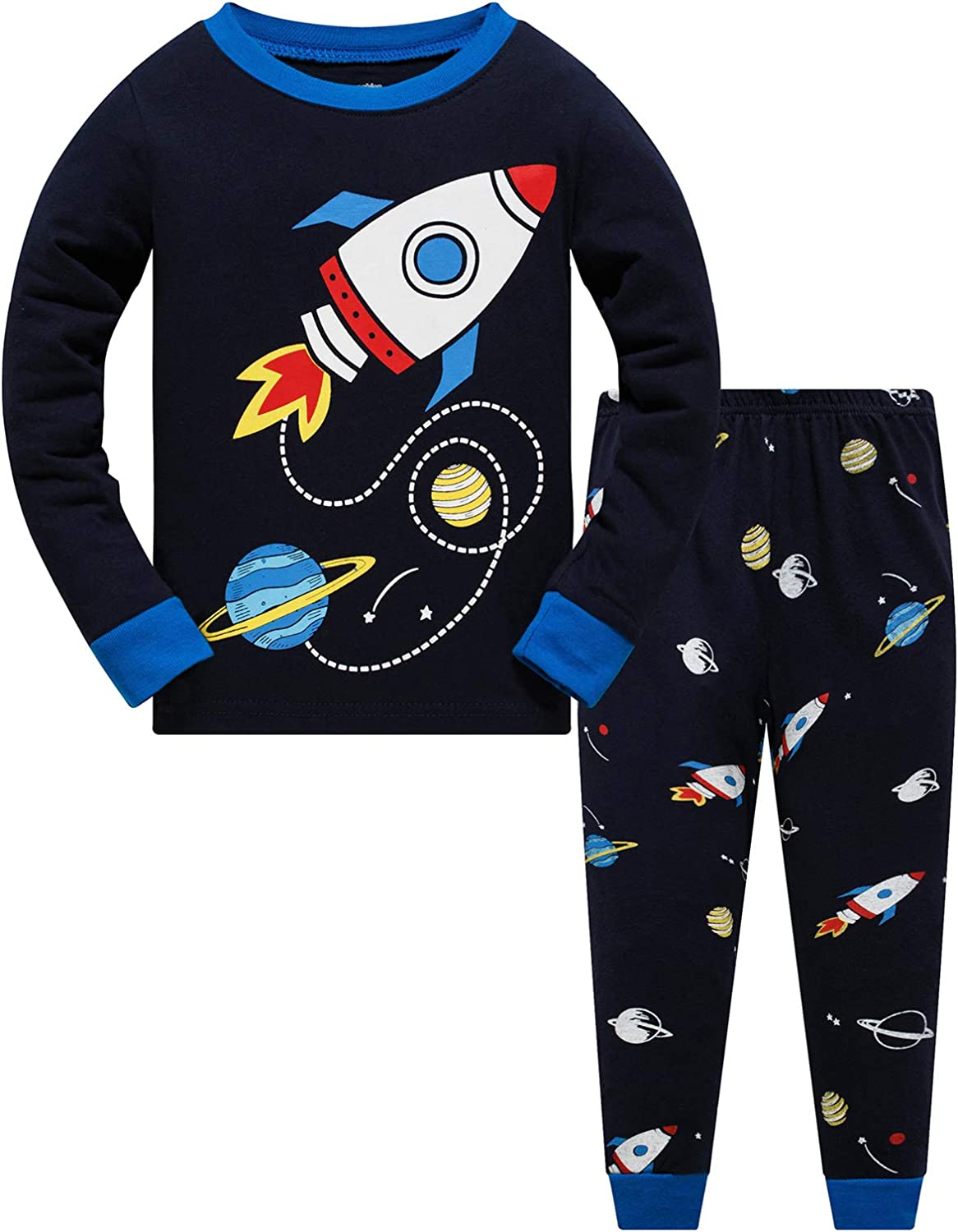 Little Boy Space Pajama Set 100/% Cotton Dinosaur Sleepwear Long Sleeve Pjs 3-7T