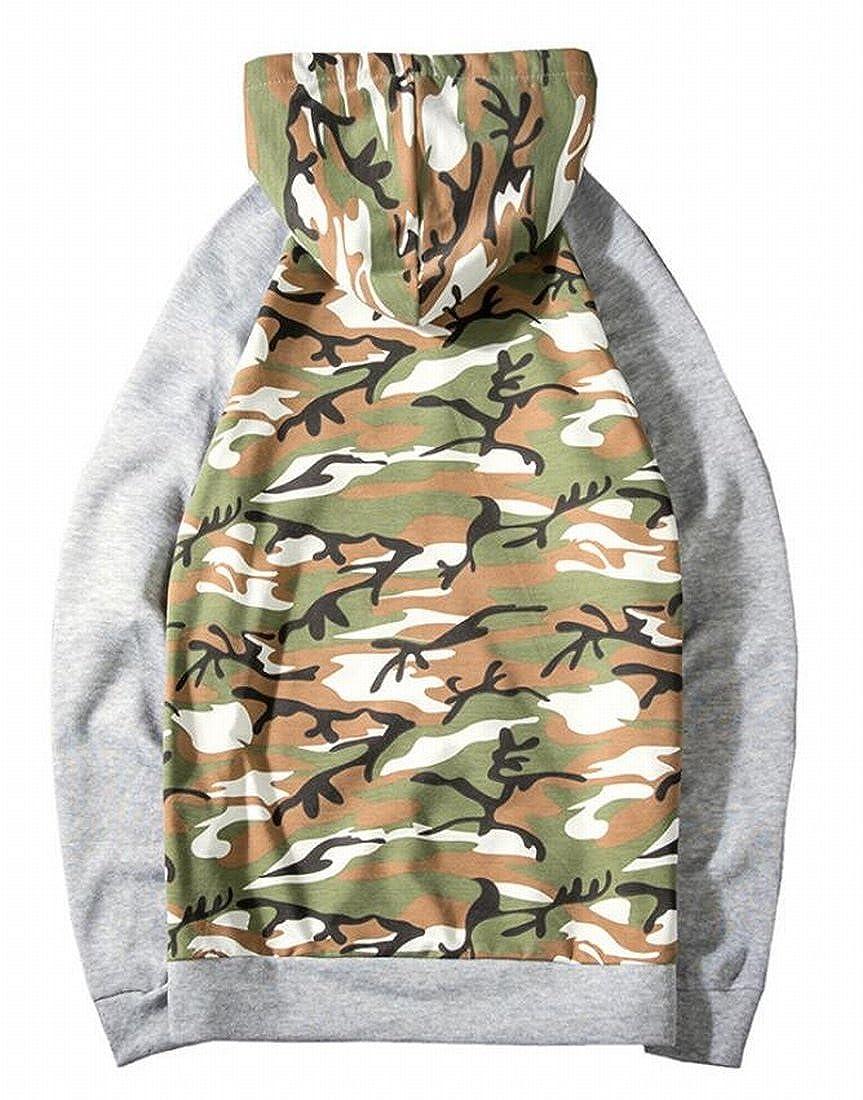 Nanquan Men Camouflage Raglan Long Sleeve Pullover Hooded Sweatshirt with Drawstring
