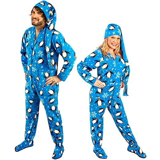 """Penguin Footed Pajamas with Drop Seat and Long Night Cap (Size 4 (height: 5'4"""" - 5'5""""))"""