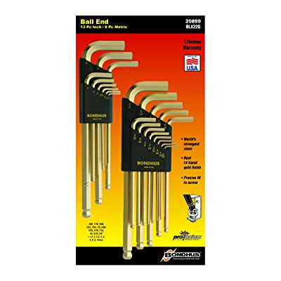 Bondhus 20899 Balldriver GoldGuard Finish L-Wrench Double Pack, 38099 (1.5-10mm) and 37937 (.050-3/8-Inch) - Hex Keys - .com