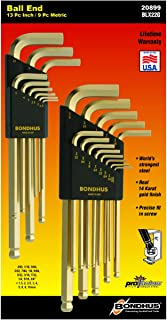 product image for Bondhus 20899 Inch/Metric GoldGuard Plated Ball EndL-Wrench Double Pack 37937 (.050-3/8) & 38099 (1.5-10mm), multi, one size
