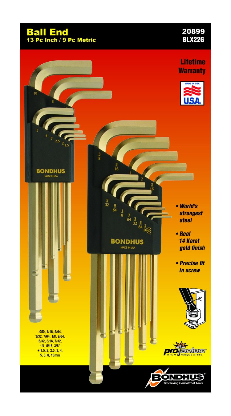 Bondhus 20899 Balldriver GoldGuard Finish L-Wrench Double Pack, 38099 (1.5-10mm) and 37937 (.050-3/8-Inch)